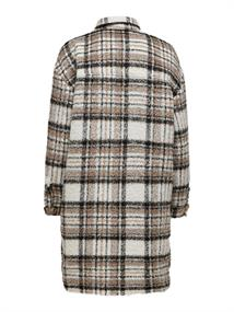 ONLSTORMY L/S LONG CHECK SHACKET PNT toasted coconut