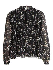 VIBLOSSOMS PLISSE L/S TOP/PB black