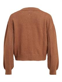 VIRIL CABLE L/S KNIT CARDIGAN/L toffee