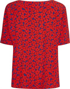 VISCOSE CREPE FLORAL BLOUSE SS club house floral - fireworks