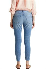 Women Pants denim length service blue medium wash